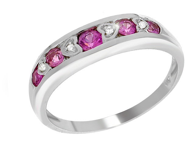 9ct White Gold Pink Sapphire