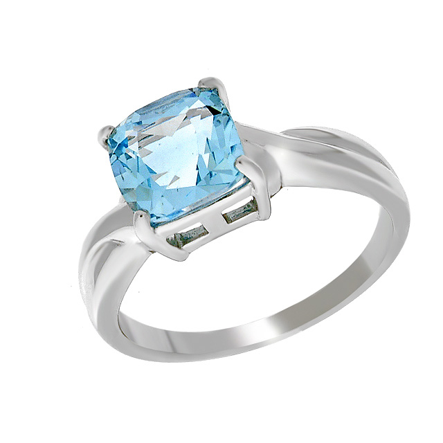 9ct White Gold Blue Topaz Cocktail Ring