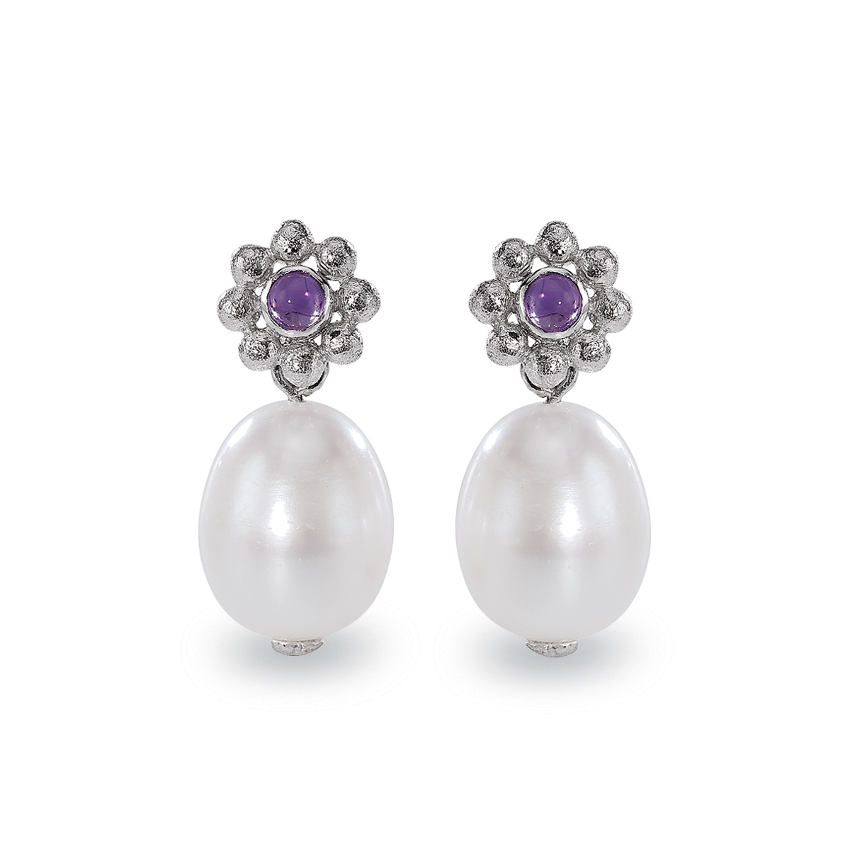 Blossom Rhodium Plated Silver Pearl & Amethyst Drop Earrings