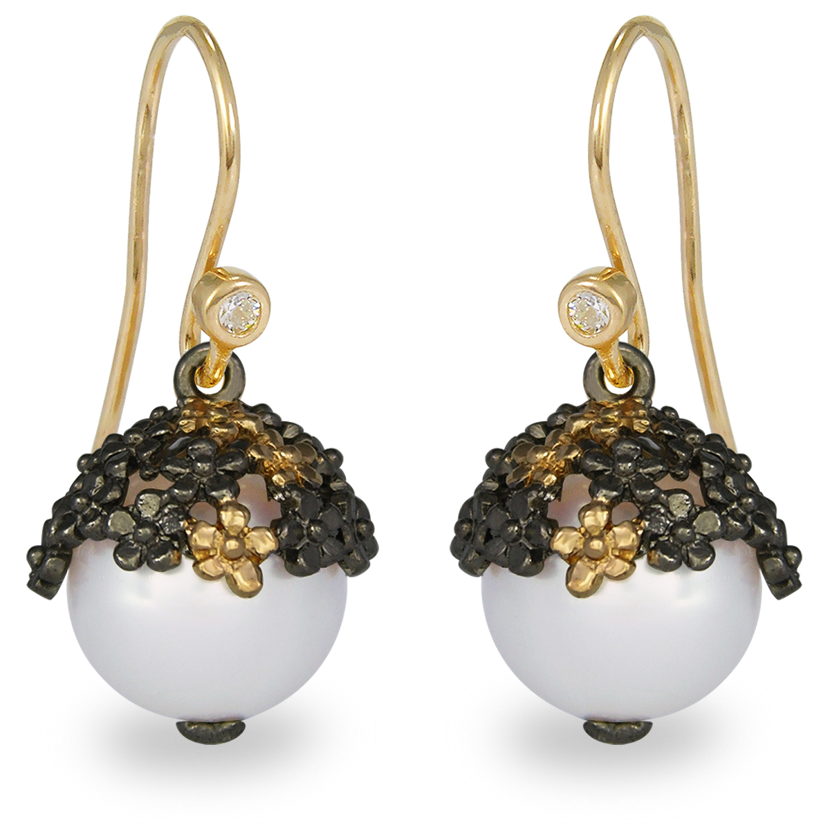 Blossom Gold Plated Ball with Flower Freshwater Pearl & CZ Dangle Earrings