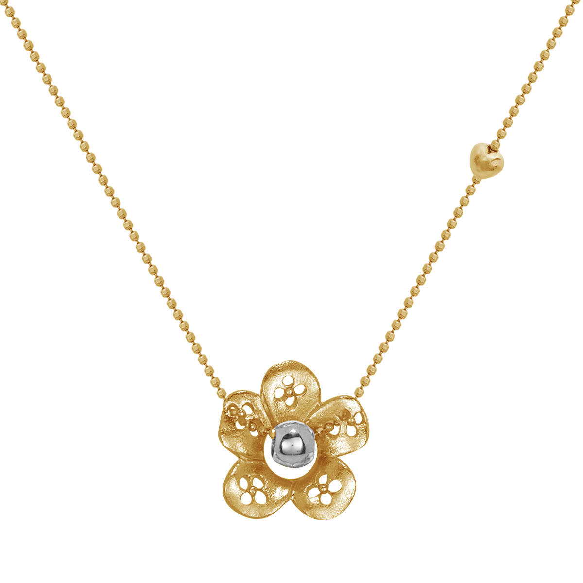Blossom Gold Plated Silver Flower Pendant on Chain