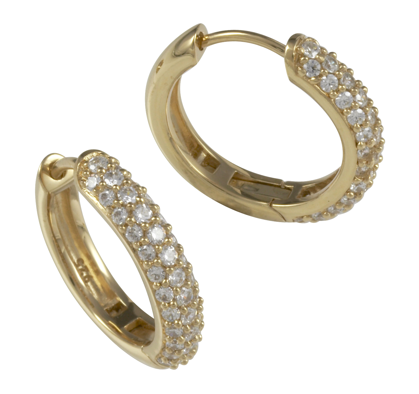 Cai Jewels Gold Plated Sterling Silver White CZ Large Hoop Earrings