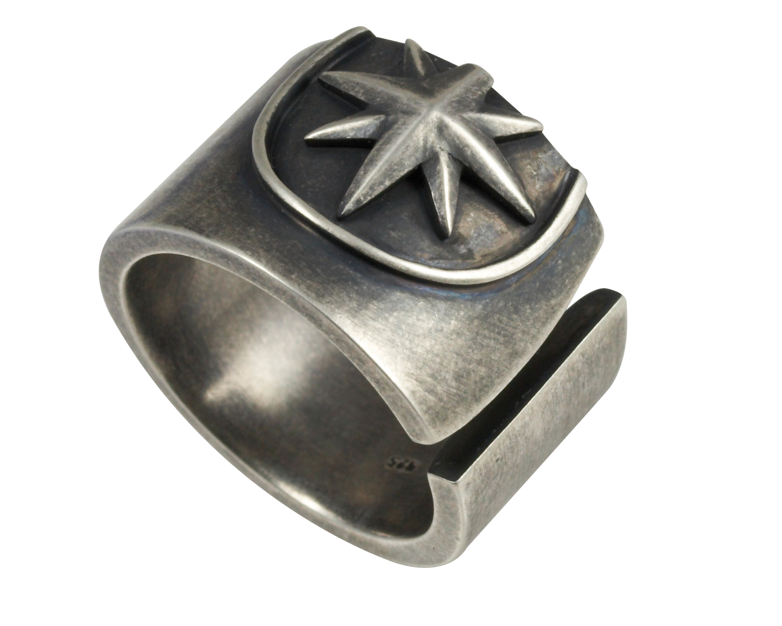 Cai Men Oxidised Sterling Silver Star Band Ring Size: W