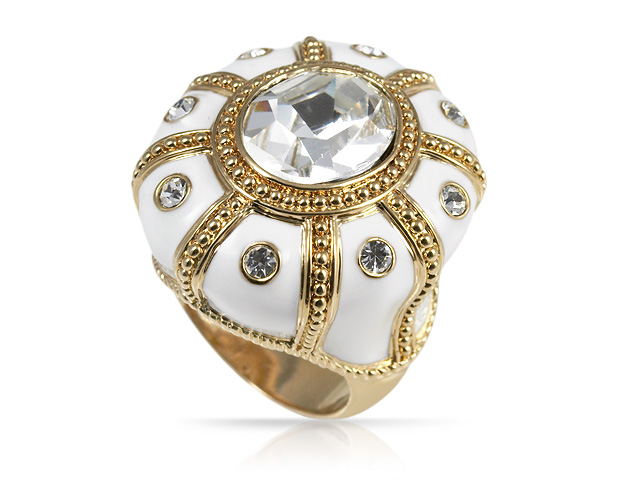 Silver Tone White Crystal Crown Statement Ring Size: S