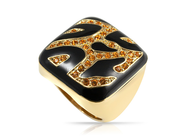 Gold Plated Silver Tone Crystal Cocktail Ring Size: M
