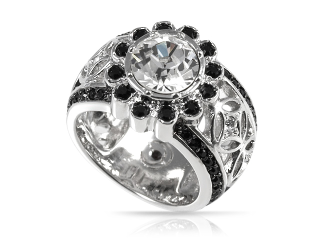 Silver Tone Black & White Crystal Floral Ring Size: S