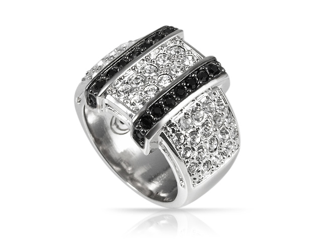 Silver Tone Black & White Buckle Ring Size: M