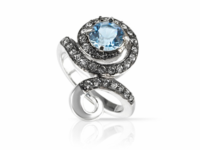 Silver Tone Blue & White Crystal Contemporary Ring Size: S