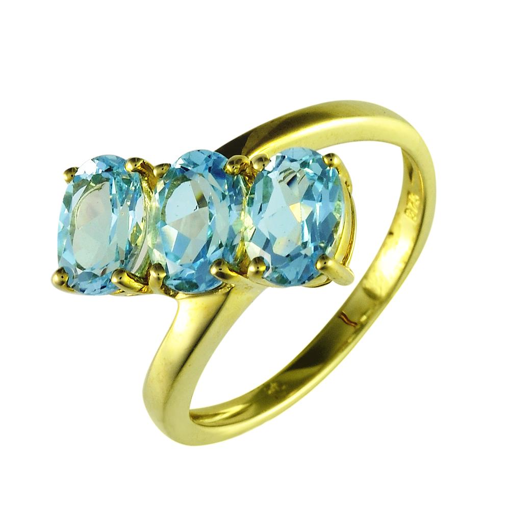 Golden Nine 9ct Yellow Gold 2.60ct Oval Cut Blue Topaz Three Stone Ring
