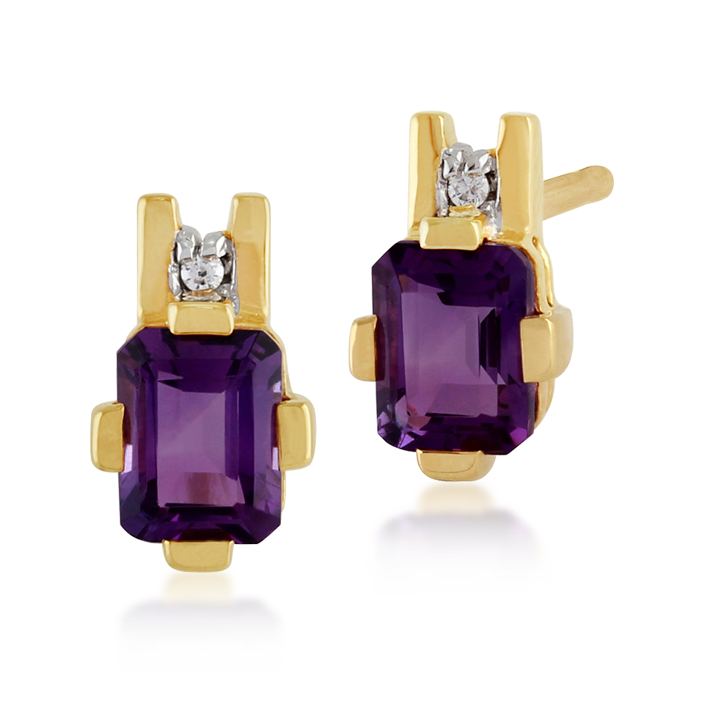 Golden Nine 9ct Yellow Gold 0.67ct Amethyst & 1pt Diamond Baguette Stud Earrings