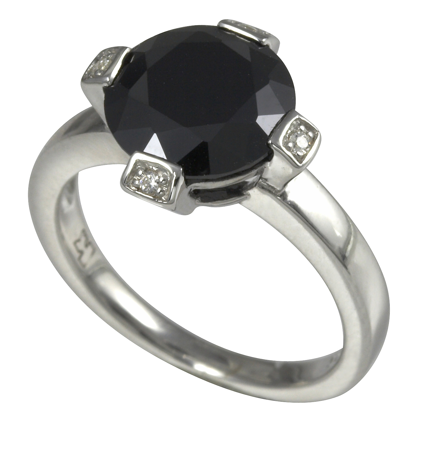 Merii Sterling Silver Black & White Cubic Zirconia Ring Size: O