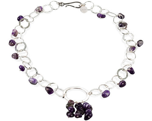 Mishca Jewels Sterling Silver Amethyst Circle 47cm Necklace