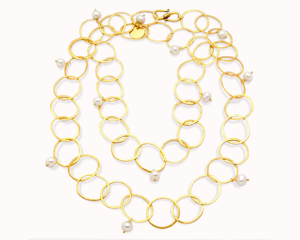 Mishca Jewels Long Gold Plated Sterling Silver Pearl 95cm Necklace