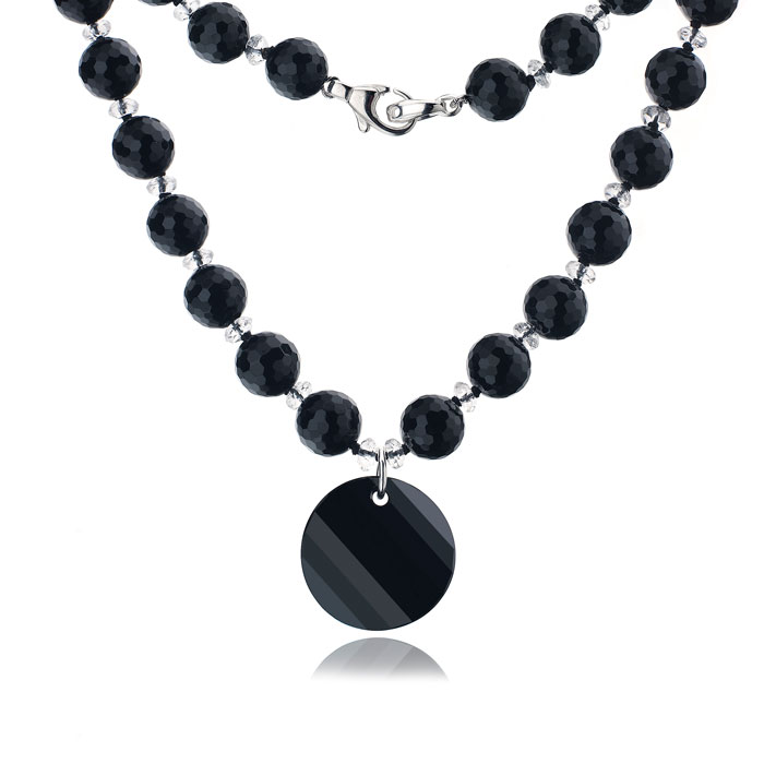 Mishca Jewels Black Onyx Sterling Silver 46cm Necklace