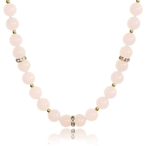 Mishca Jewels Rose Quartz Gold Plated Sterling Sivler 44cm Necklace