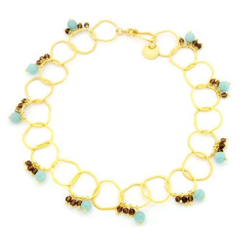 Mishca Jewels Gold Plated Silver Amazonite