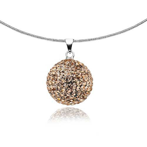 Mishca Jewels Sterling Silver Rose Crystal Sphere Necklace