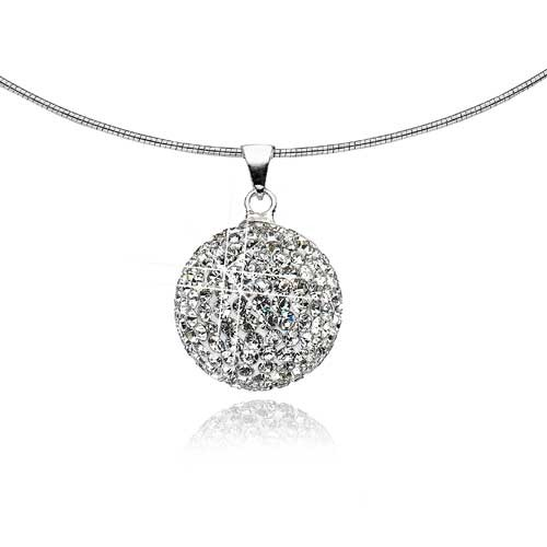 Mishca Jewels Sterling Silver Crystal Sphere Necklace