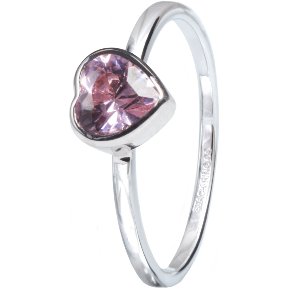Stack Ring Co Sterling Silver Pink Sweetie Heart Stackable Ring Size: N