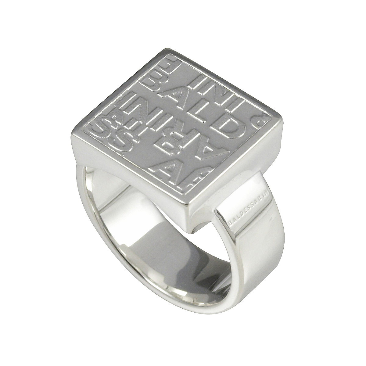 Baldessarini Sterling Silver Mens Square Sovereign Ring Size: S