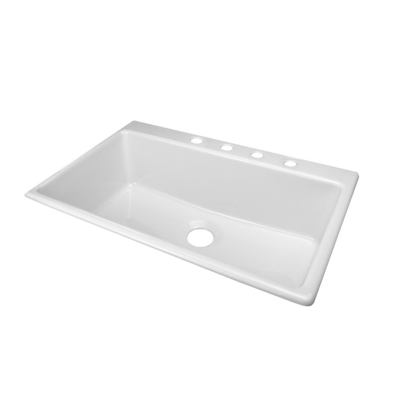 ... -DKSXXES4-3-5-White-Linear-33x22-Acrylic-9-Deep-4-Hole-Kitchen-Sink