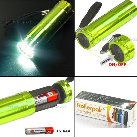 PCS MINI 9 LED FLASHLIGHT TORCH BLACK BLUE RED GREEN SILVER LAMP LIGHT