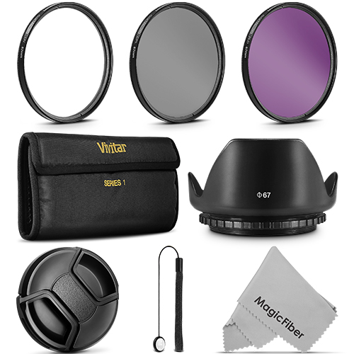 67MM Vivitar UV CPL FLD Filter Kit + Lens Hood for Canon 18-135mm 70