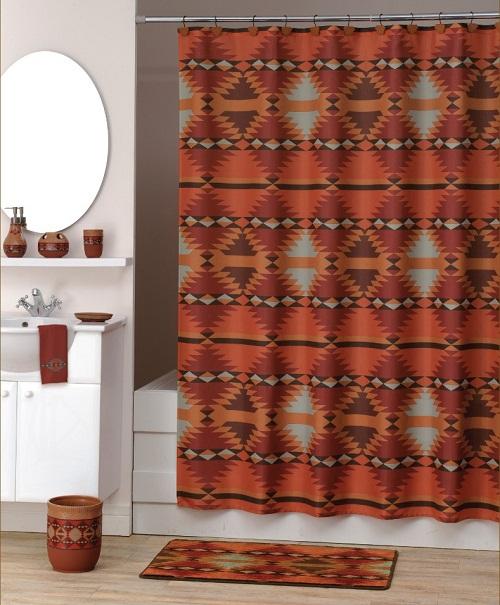 Santa Fe Southwestern Fabric Shower Curtain New