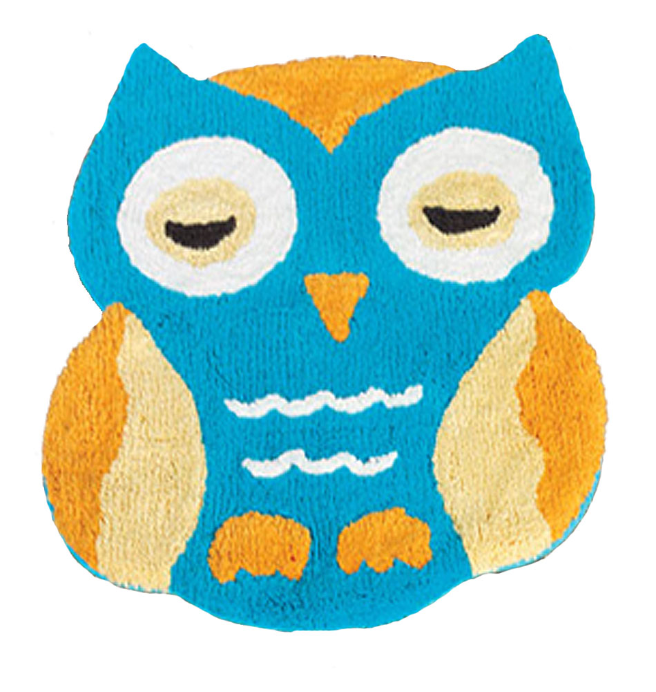 Retro OWL 100% COTTON Accent RUG Bath MAT KID BATHROOM