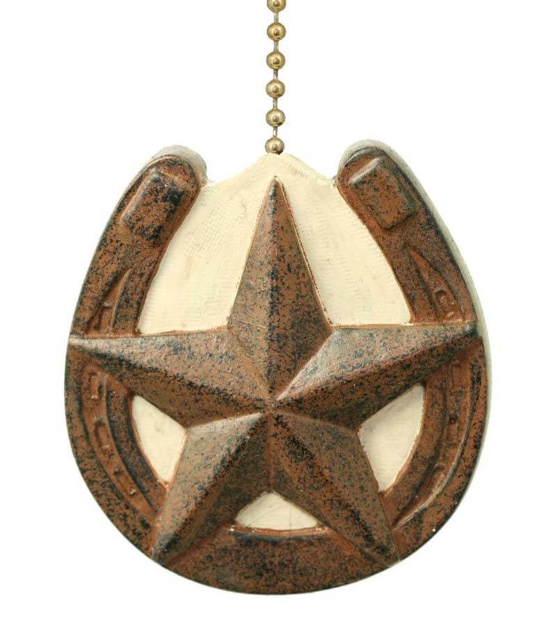 Western Ceiling Fans With Stars: HORSESHOE W/ Barn TEXAS STAR Primitive Design CEILING FAN