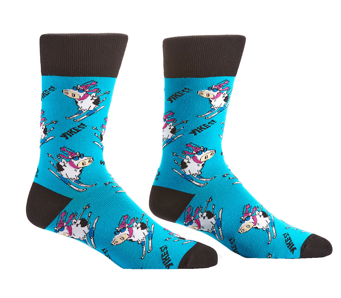 All the novelty socks you can imagine for women, men, and kids. Ninjas, unicorns, bigfoot? Yup we've got that. Cats that fly, bears on bikes? That too. Pizza, tacosaurus, pinatas—anything you can think of, we have a crew or knee high sock unique as you.