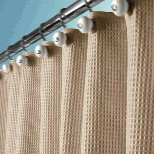 Beige Tan Fabric WAFFLE Weave Shower Curtain