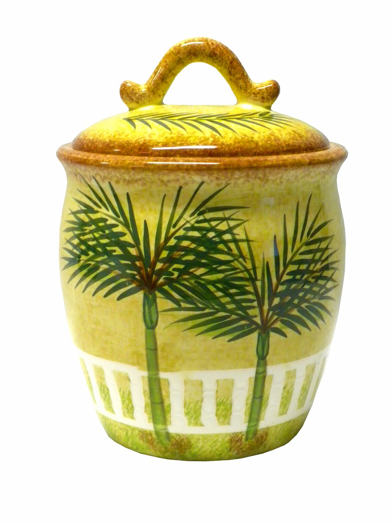 Ceramic palm tree tropical beach theme canister kitchen for Tropical themed kitchen