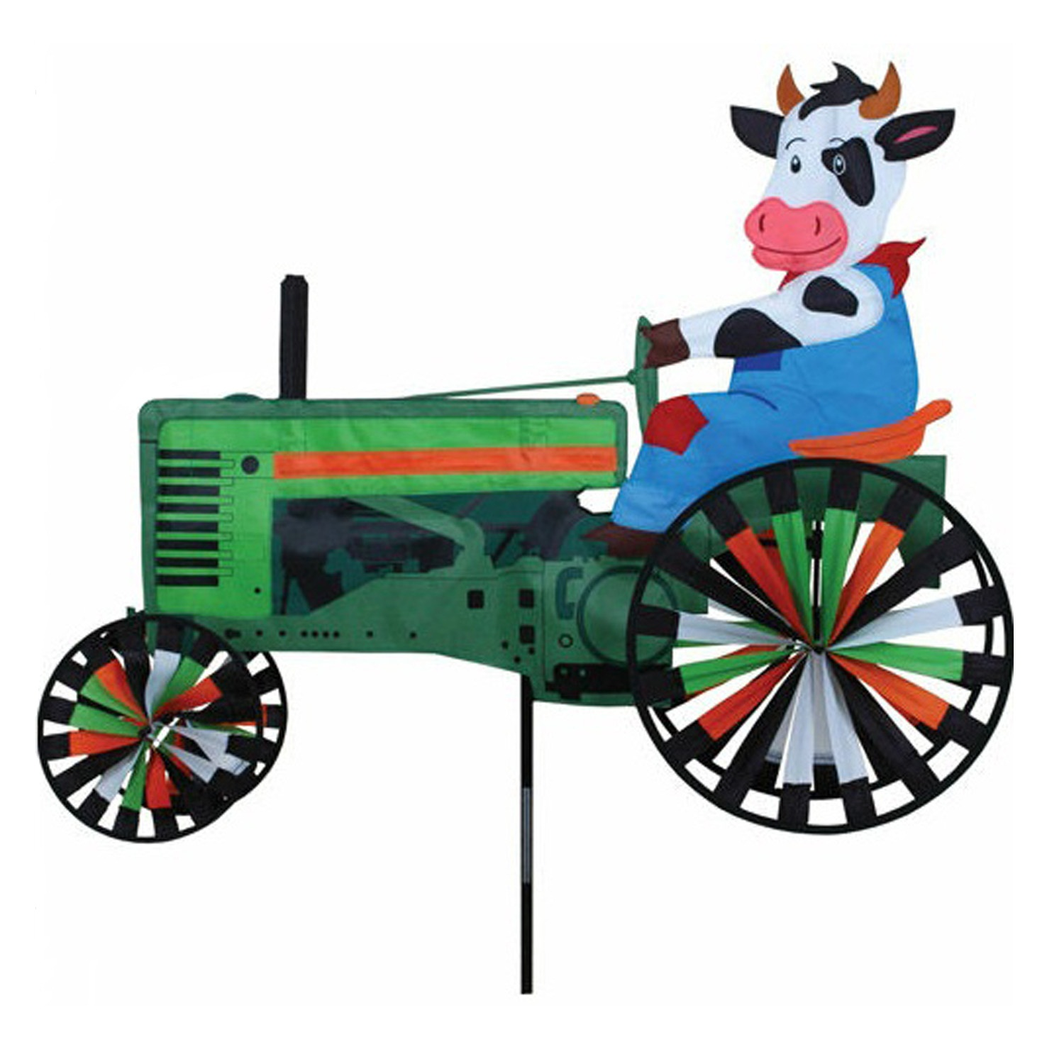 Tractor Garden Stakes : Quot farm cow on a tractor wind spinner lawn outdoor