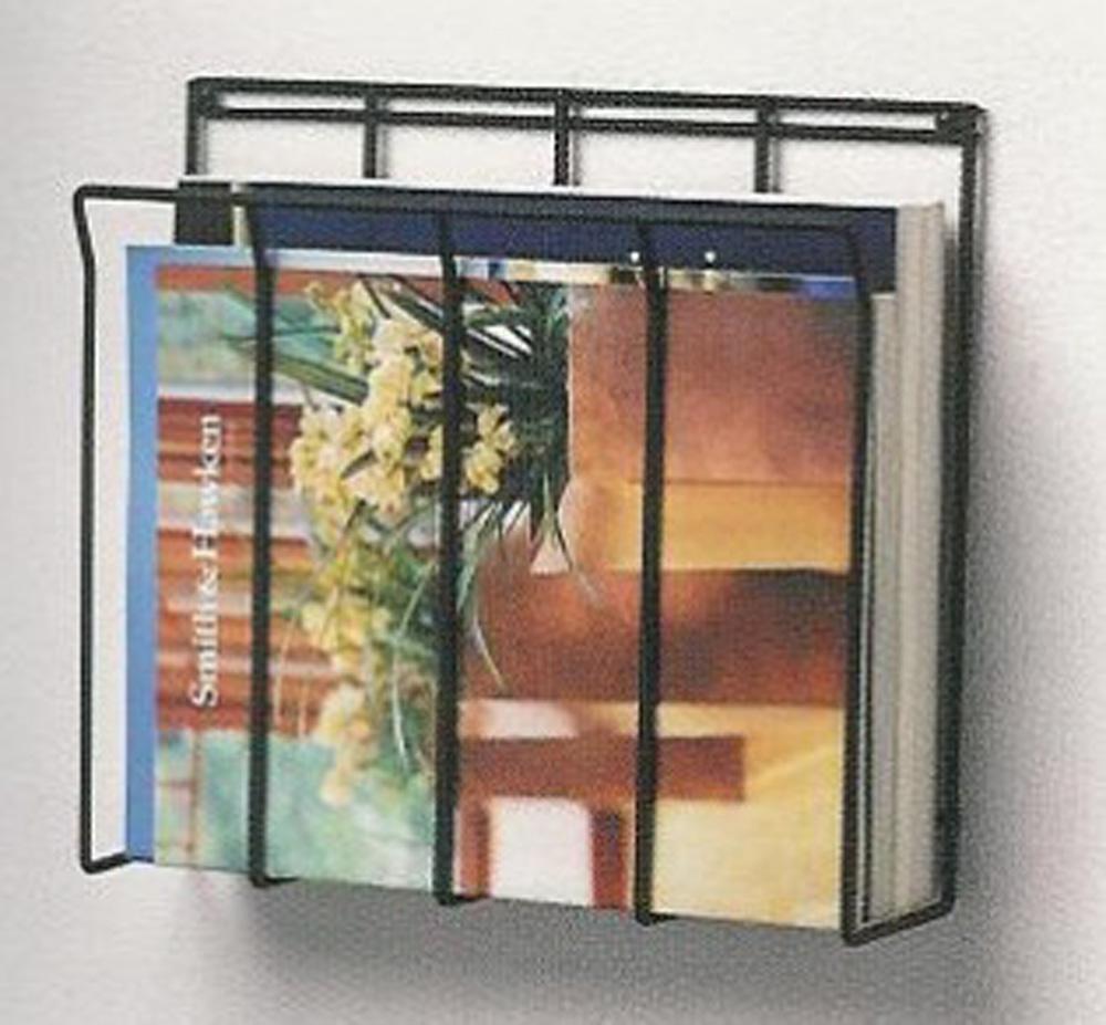 Black Wall Mount Home Decor Magazine Rack Bathroom Office Ebay