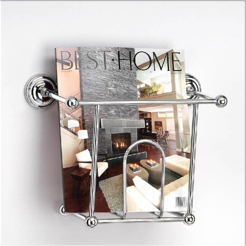Chrome wall mounted magazine rack holder caddy ebay for Wall mounted bathroom magazine rack