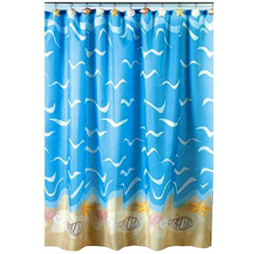 ... about BLUE nautical SEA SHELL shower CURTAIN sea OCEAN bath DECOR