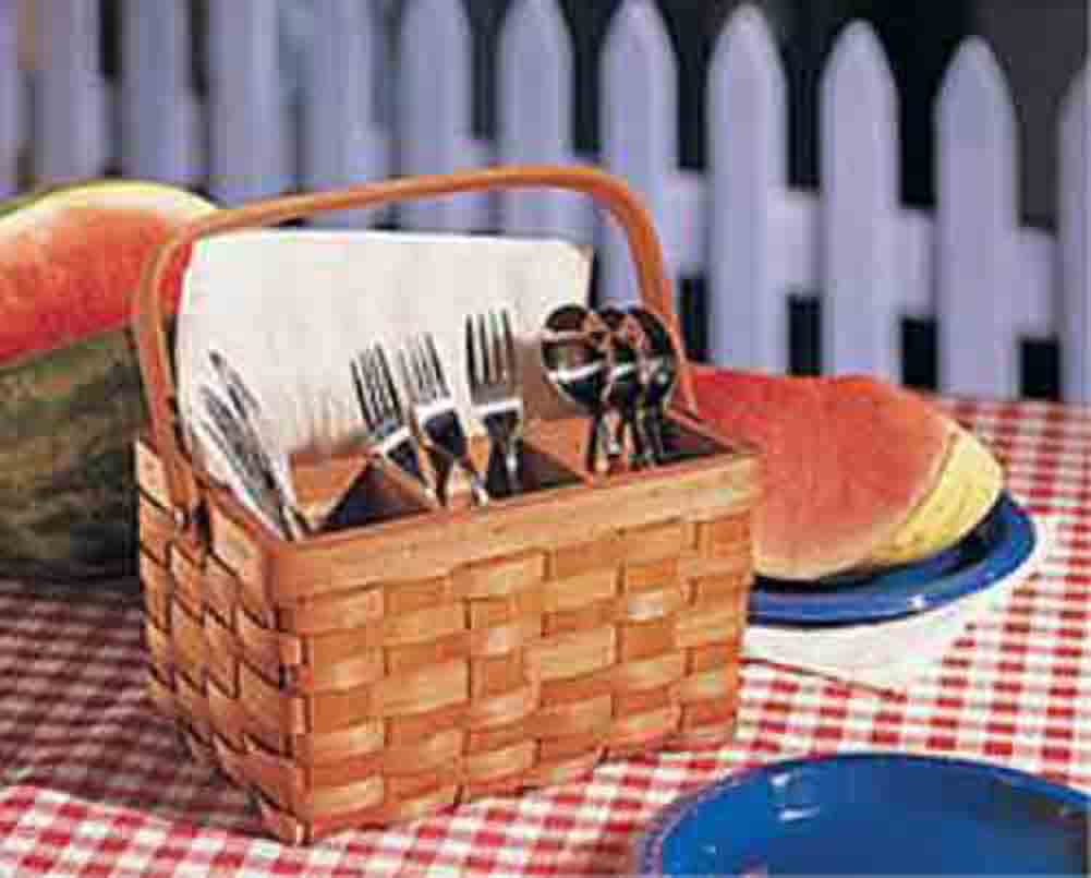 Basket bbq picnic utensil caddy flatware silverware storage organize reunion - Organiser barbecue party ...