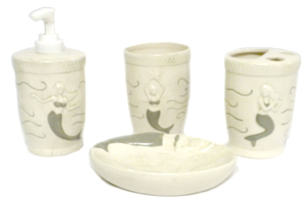 Ceramic mermaid 4pc bathroom set tumbler soap dish toothbrush holder pump beach - Bathroom soap dish sets ...
