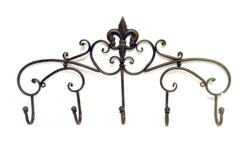 Enclume® Decor Wall Scroll Rack : Fleur de lis cast iron scroll hook wall coat rack home