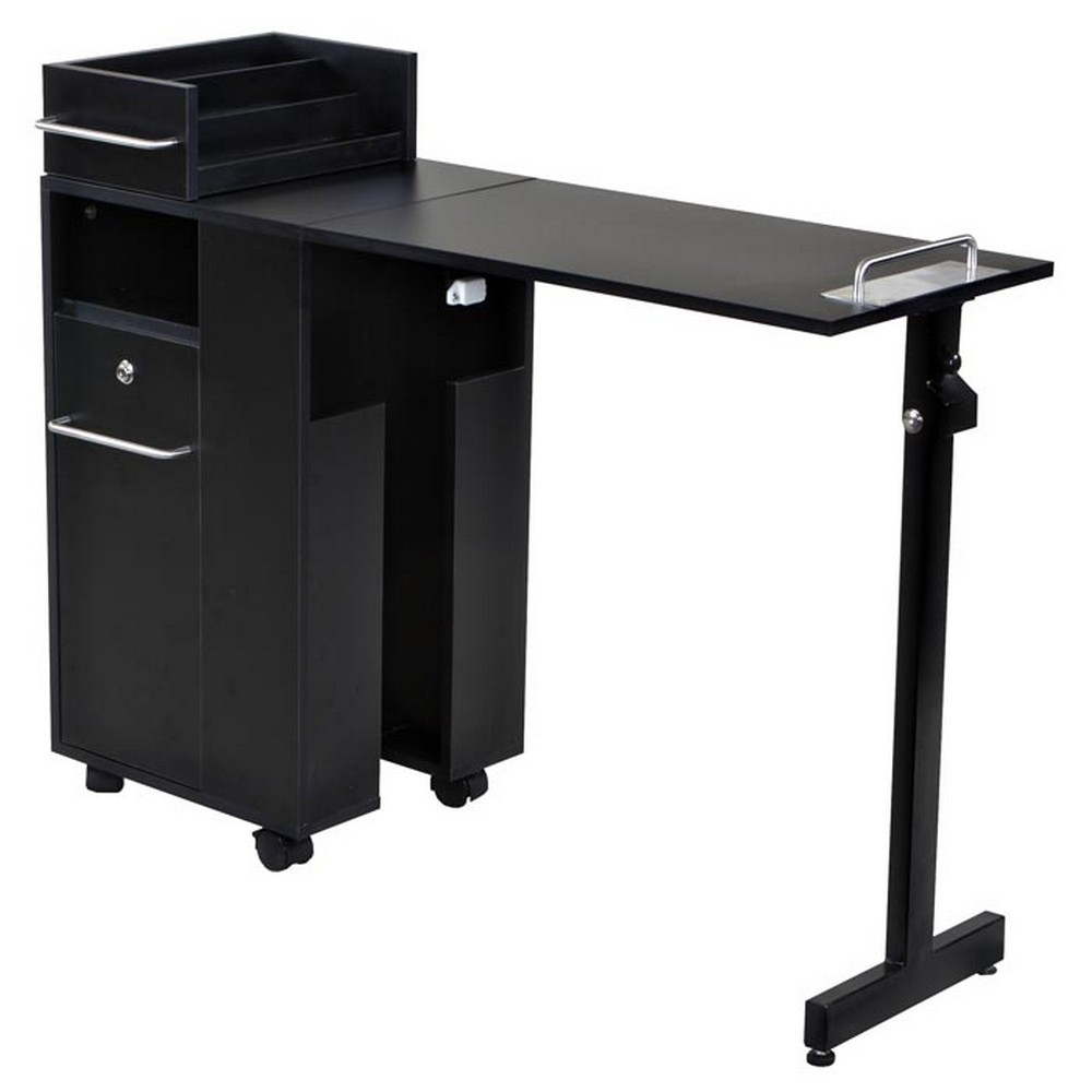 New folding black nail salon manicure table mf 01b ebay for Nail salon table