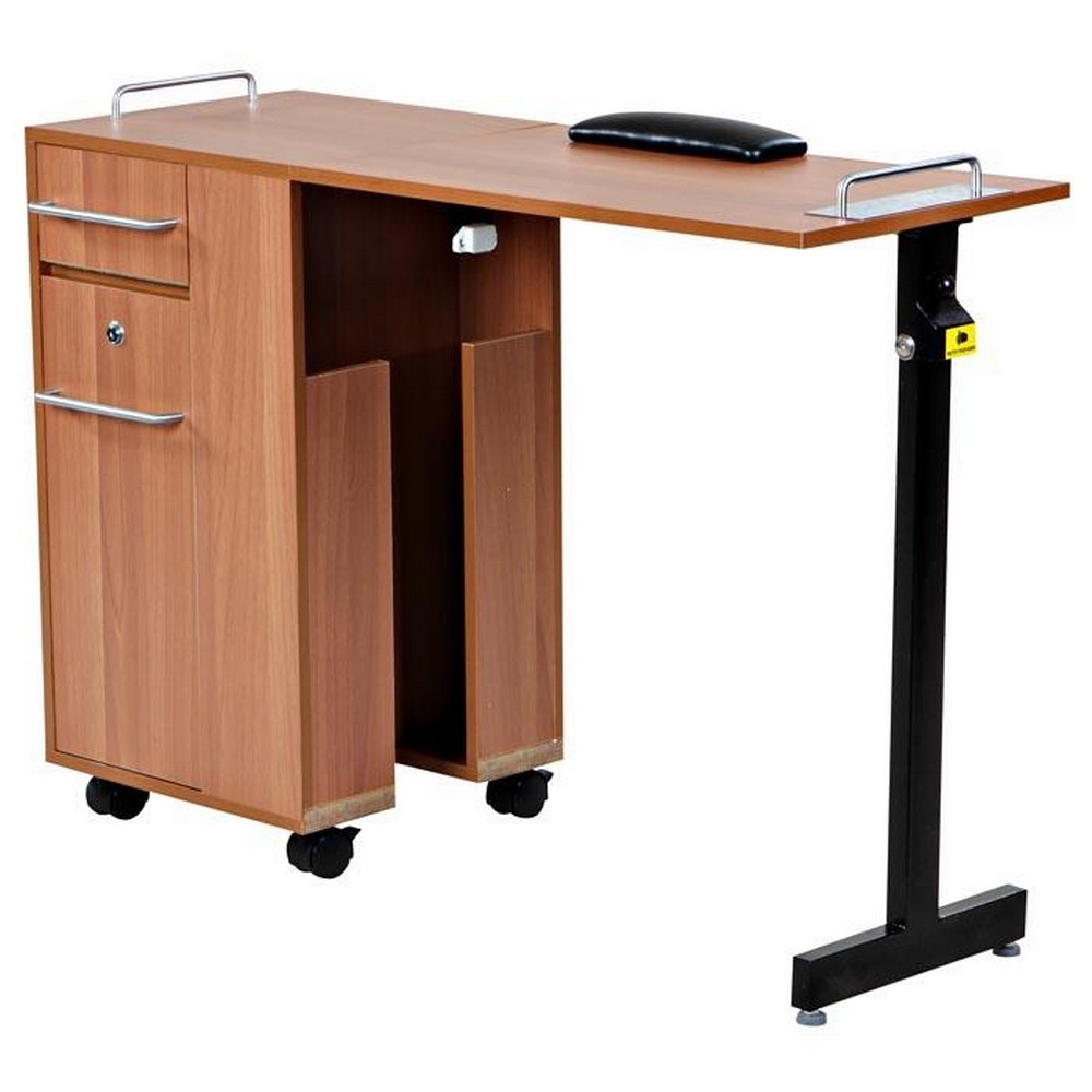 New folding pearwood nail salon manicure table mf 01p for Folding nail table