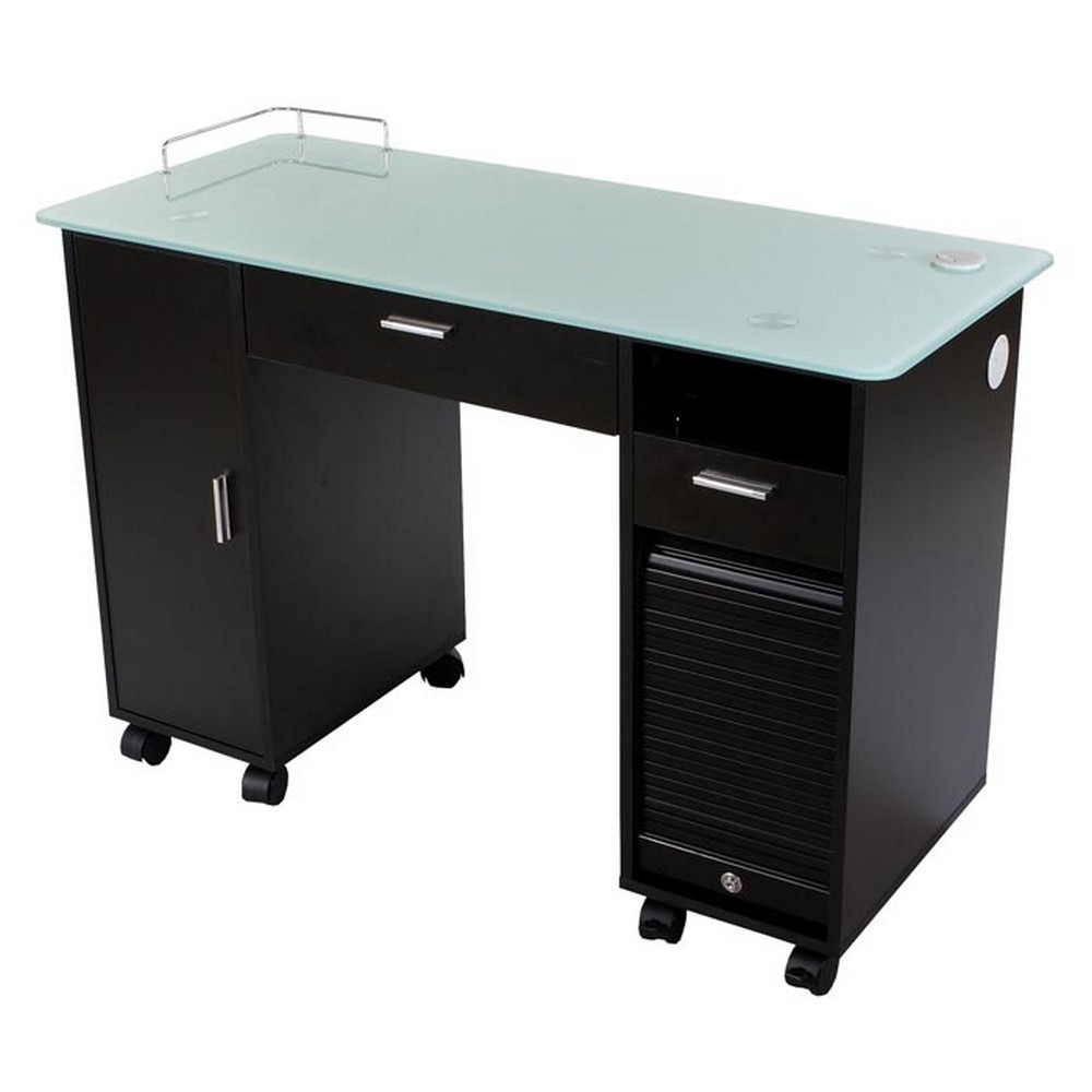 New lockable black nail salon manicure table mf 18b ebay for Nail salon table