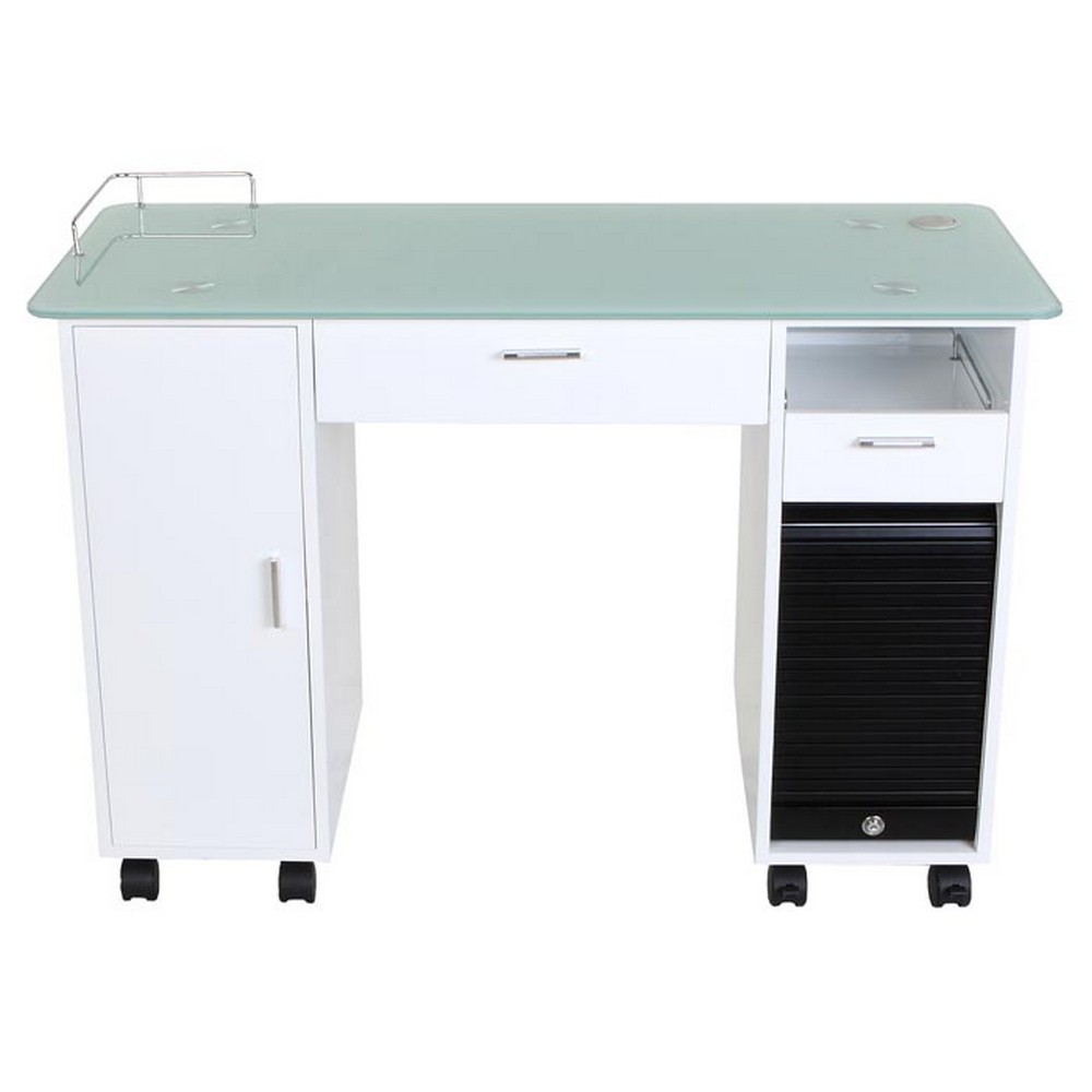 New lockable white nail salon manicure table mf 18w ebay for Small manicure table