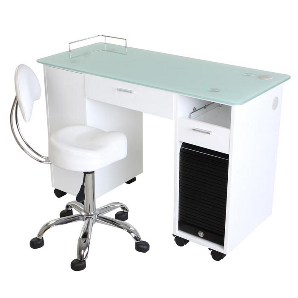 New lockable white nail salon manicure table mf 18w ebay for Unique manicure tables