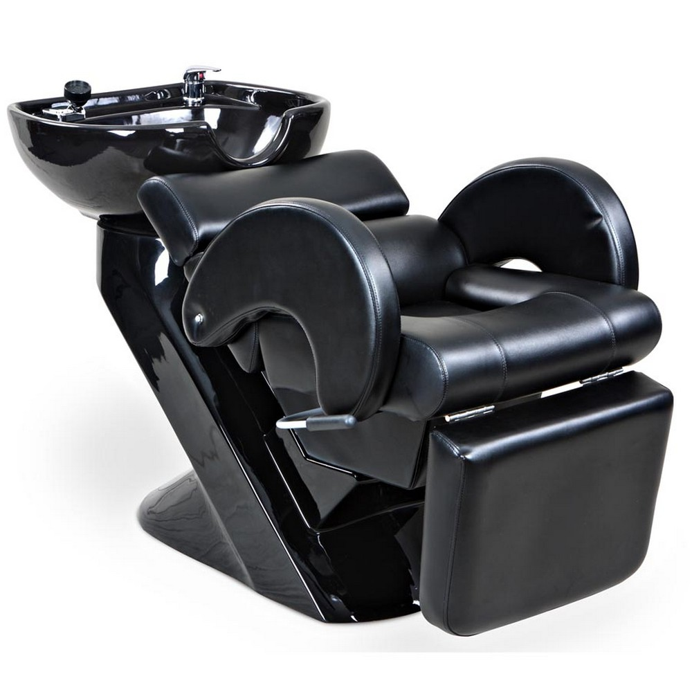 Temple black beauty salon shampoo chair sink bowl unit for Salon shampoo chairs