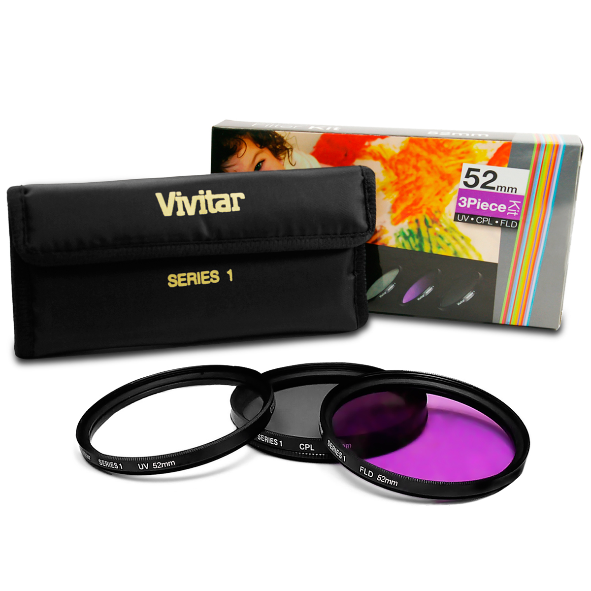 vivitar 52mm uv cpl fld filter kit accessories bundle. Black Bedroom Furniture Sets. Home Design Ideas