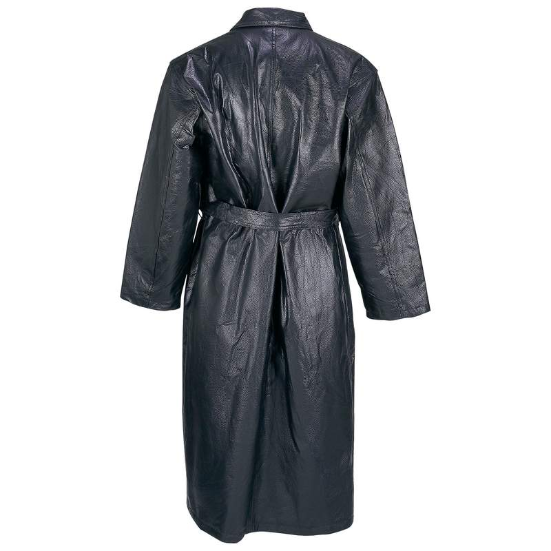 Giovanni Navarre Hand-Sewn Pebble Grain Genuine Leather Trench Coat Size: M at Sears.com