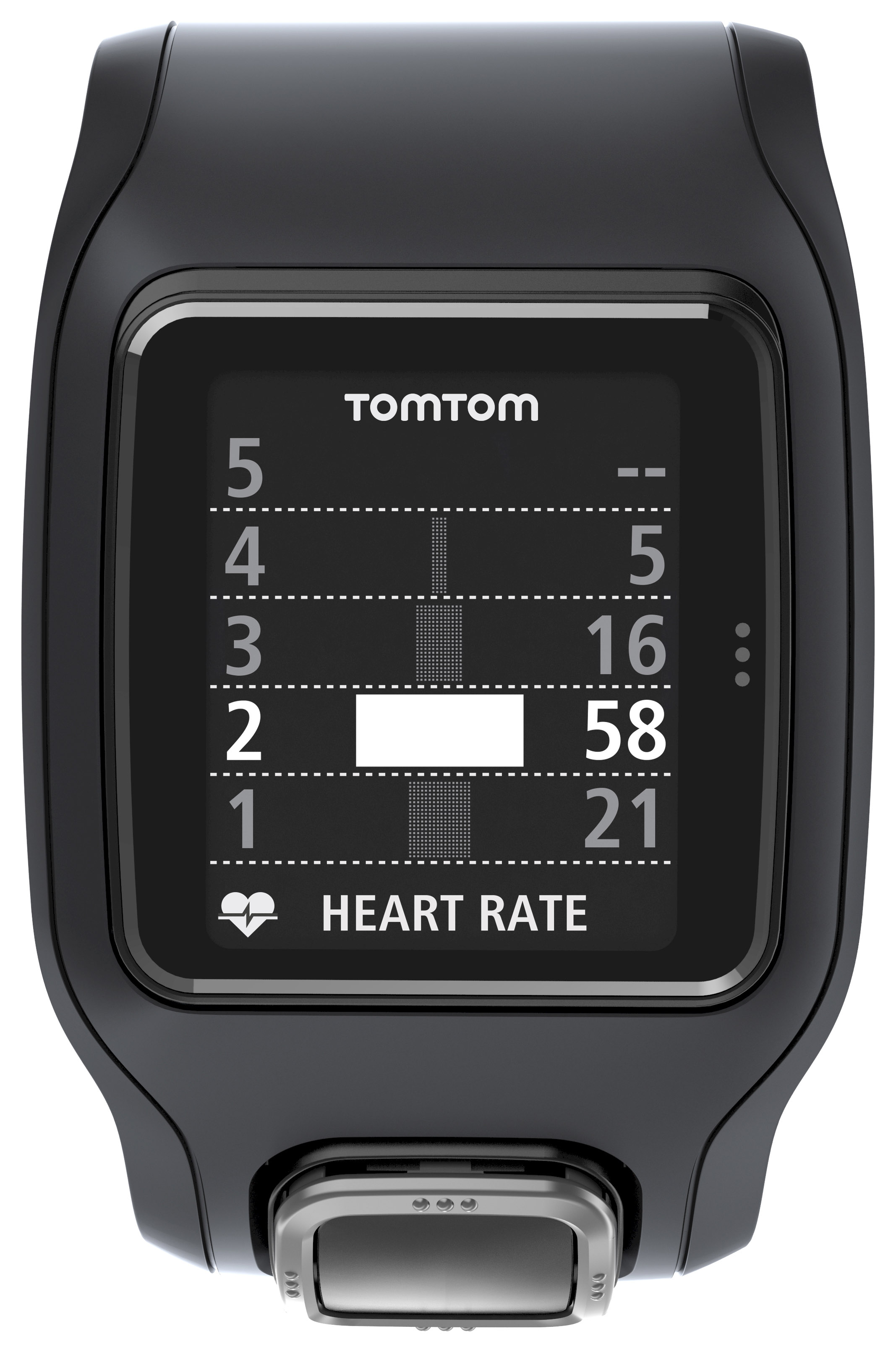 TomTom Runner Cardio Fitness Watch Black with Extra Large Face & Metric Display