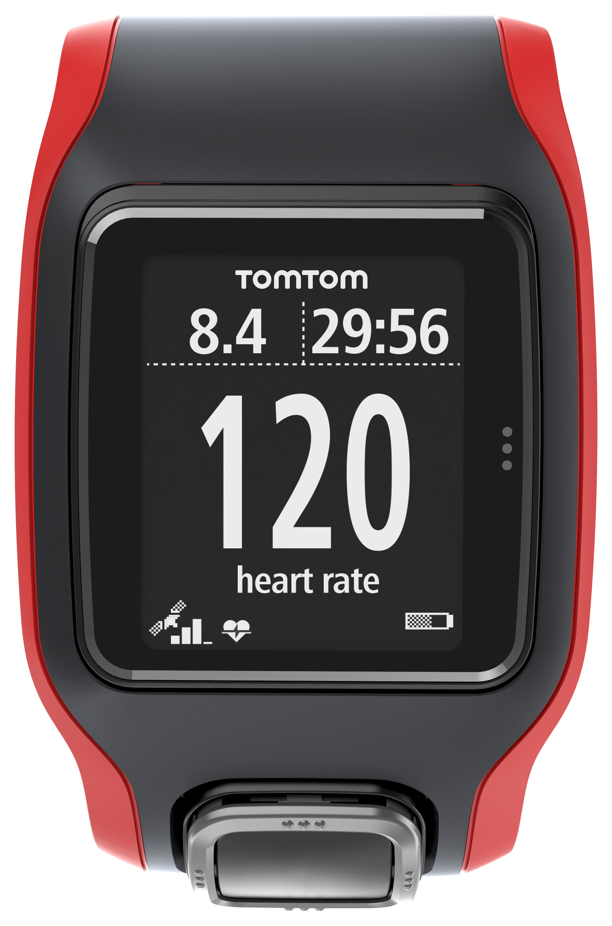TomTom Multi Sport Cardio Black Red with Extra Large Face & Metric Display